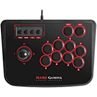 Mars Gaming MRA - Controlador retro arcade stick (switches mecánicos, modo Turbo, diseño ergonómico, 14 botones, joystick de alto rendimiento), color negro