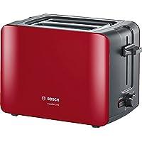 Bosch TAT6A114 Kompakt-Toaster ComfortLine, automatische Brotzentrierung, Auftaufunktion, 1090 W, rot/anthrazit