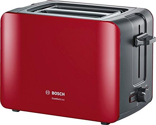 Bosch TAT6A114Grille-Pain Compact Comfort Line Fonction de Centrage Automatique 1090W, Rouge/Anthracite