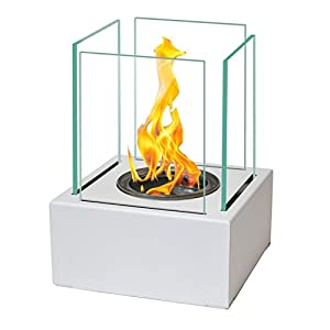 17x13 cm ECO Table Fireplace Bio-Ethanol Fireplace White + 5X Ecological Replaceable Gel Bio-Fuel