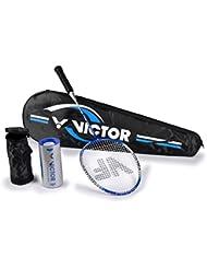Victor Uni Set de bádminton 1x VICFUN XA 2.2Racketbag 3x Nylon pelota raqueta de bádminton, Plata/Azul, One size