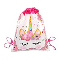 Unicorn Drawstring Bag for Girls Travel Storage Package Cartoon School Backpacks Children Birthday Party