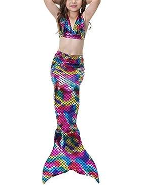 Das Beste Mädchen Meerjungfrauen Bikini Kostüm Meerjungfrau Schwimmanzug Badeanzüge Tankini (150, Mehrfarbig1)...
