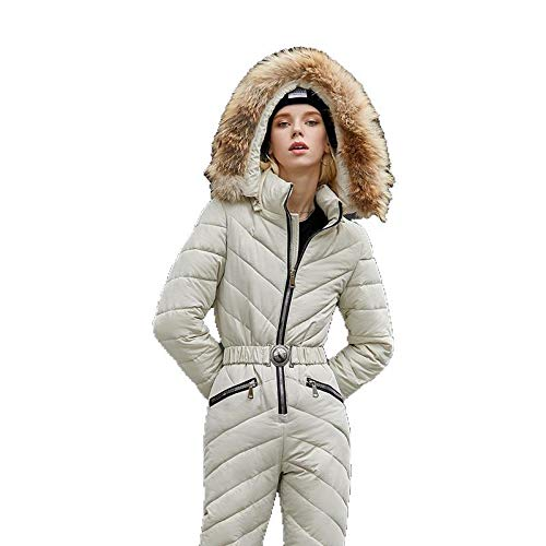 HUIGE Donne Tute da Sci Tuta Piumino Cerniera Regolabile Addensato Caldo Tute Inverno All'aperto Snowsuits per Gli Sport sulla Neve,Bianca,XXL
