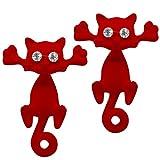 Soul-Cats® 1 paire clou d'oreille chats strass 3D, couleur: rot