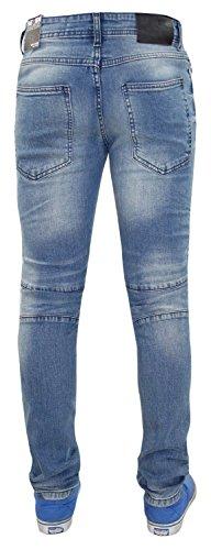 Nouveaux Hommes 7 Series Biker Style Slim Fit Stretchable Ripped Denim Jeans Denim Mid Wash