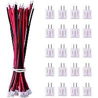 20 Piezas Micro Conector 2 Pines JST PH 2.0 Enchufe Macho y 20 Piezas 10 cm Cable de Silicona Rojo y Negro con Conector Hembra