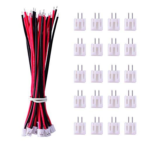 20 Stück Micro JST PH 2.0 2-Pin Stecker und 20 Stück 10 cm Rot und Schwarz Silikon Kabel Draht mit Buchse 2 Pin Stecker