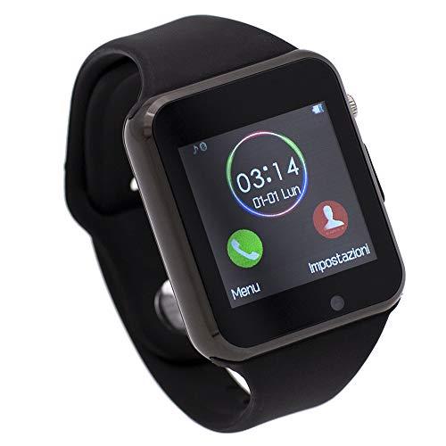 CEKA TECH Bluetooth Smart Watch, con fotocamera, touch screen curvo, supporto per scheda SIM/TF, contapassi, sleep - Orologio connesso compatibile con NGM Dynamic Star