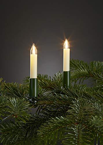 HELLUM 802061 20-teilige LED-Filament-Schaftkerzenkette innen, Weihnachten Made in Germany, elfenbein, warm-weiß, stromsparend, langlebig, Stecker teilbar, 70cm Fassungsabstand - 70 Led Weihnachten Lichterkette