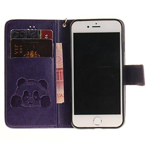 Apple iPhone 6 Plus / 6S Plus Custodia Disegno Panda Pattern, GOCDLJ Copertura di Ccuoio Cover in PU Dipinto Sintetica Ecopelle Pelle Guscio per iPhone 6 Plus / 6S Plus Protezione Caso Ultra Sottile s Porpora