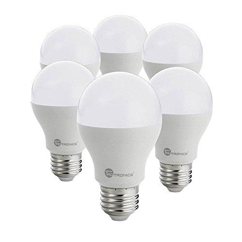 TaoTronics Bombillas LED E27 9W [Pack de 6] Blanco Cálido 3000K LED Light Bulbs, BAJO CONSUMO, Equivalente a 60W, Larga duración, sin deslumbramiento