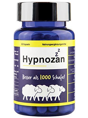 Hypnozan - 60 Tage gutes Schlafes, Aktivator von körpereigenem Melatonin, 5-HTP, Zitronenmelisse, L tryptophan, Montmorency. Synergieeffekt, besser als Schlaftabletten