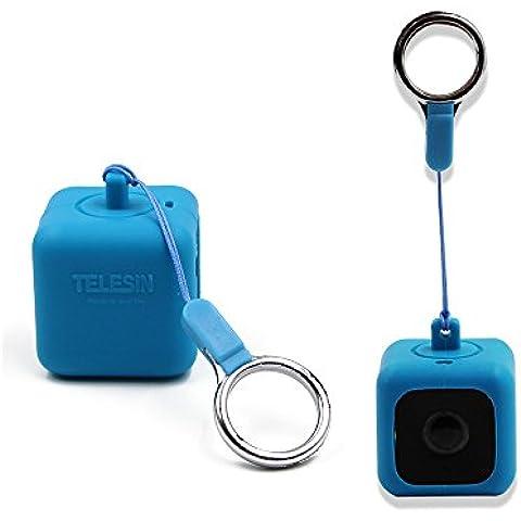 TELESIN Bumper Funda para cámaras de acción de estilo de vida Polaroid CUBE, Cube + collar con cordón y clip de placa de techo, azul