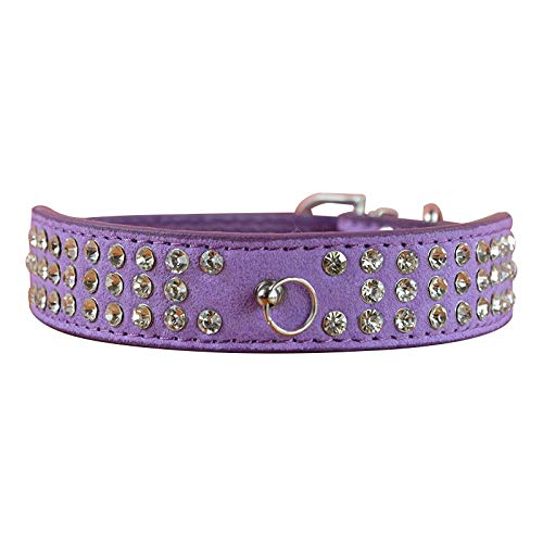n 4 Größen Hundehalsband 2,5 cm Breite 3 Reihen Strass Cashmere Dog Puppy Pet Halskette Halsband, Lila, L ()