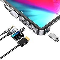موزع USB C لجهاز iPad Pro، محطة شحن iPad Pro 2018، محول Baseus 6 في 1 من الألومنيوم iPad Pro Dongle USB Type-C مع 4K HDMI، شحن USB-C PD وقارئ بطاقة SD/Micro USB، USB 3.0 و3.5 مم سماعة رأس CAHUB-WJ0G
