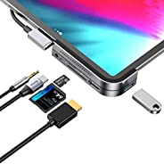 موزع USB C لجهاز iPad Pro، محطة شحن iPad Pro 2018، محول Baseus 6 في 1 من الألومنيوم iPad Pro Dongle USB Type-C
