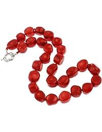 Beautiful Chunky TreasureBay rojo collar con colgante en forma Coral 48,26 cm/48 cm - presentada en estuche detalle caja de regalo