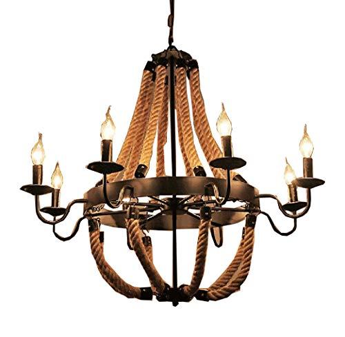 6 Arm Kronleuchter (CIFFOST®Retro Industrial Kronleuchter, Candle Lamp modern Simple Industrial, Kronleuchter Art E14 Lampe Kerze Deckenleuchte, Kronleuchter Decke 6-Arm Küche [Energieeffizienz Grade A +] (6))