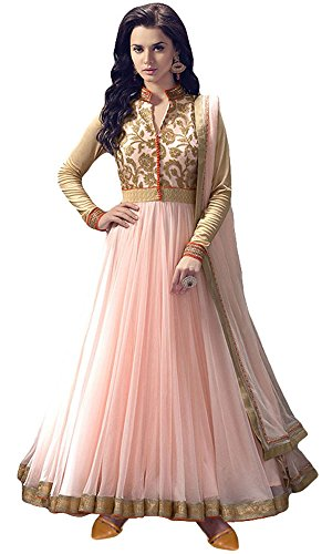Women's Clothing Anarkali Suit Designer Party Wear Today Offers Low Price Sale Top Orange Color Banglori Silk Fabric Free Size Salwar Kameez Dress  available at amazon for Rs.499