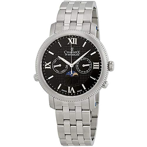 Charmex Men's Salzburg 42mm Steel Bracelet Quartz Black Dial Analog Watch 2971