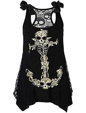 MEIHAOWEI Vintage Skull Gothic Punk Print Tank Dress Vest Sleeveless Tank Top Shirt
