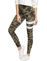 Pantalones de camuflaje militar de las mujeres conjuntos de entrenamiento de fitness polainas pantalones de yoga (M)