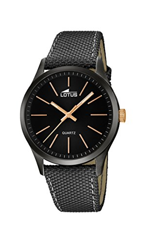 Lotus Men's Quartz Watch with Black Dial Analogue Display and Grey Leather Strap 18165/2