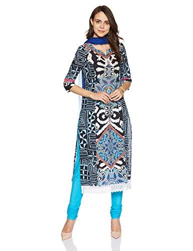 Rain and Rainbow Women's Anarkali Salwar Suit (SKD-5096-AW/17-01_Blue_2XL)