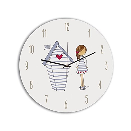 Cuadriman Palo Palito Reloj de Pared Niña Casita, Madera, Multicolor, 30x30x7 cm