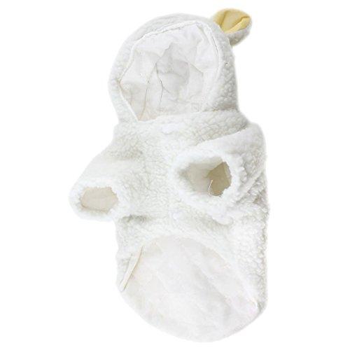 SODIAL(R) Weisse Schafe Design Stud-Knopf Hund Pudel Mantel Kostuem Groesse L