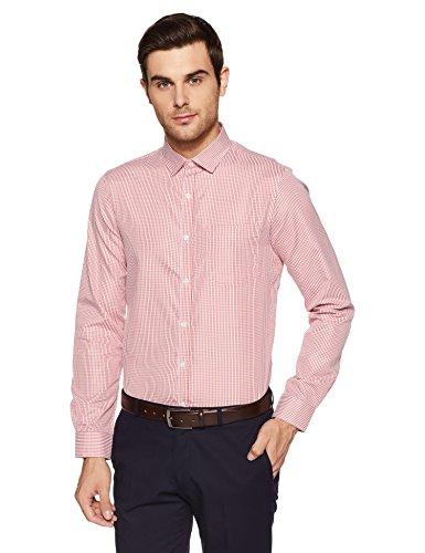 Excalibur EX Men's Solid Regular Fit Formal Shirt (276429449 RED 40 FS)