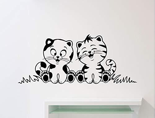 Nette Katze Mit Tiger Wenig Muster Kunst Wandaufkleber Home Kids Schlafzimmer Spezielle Decor Liebevolle Wandtattoos Vinyltapete Wm 60x150 cm