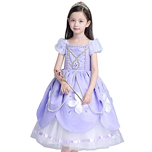 Das beste Sofia Rapunzel Kostüm Kinder Glanz Kleid Mädchen Weihnachten Verkleidung Karneval Party Tangled Halloween Fest Lila, Lila, (Princess Kleid Halloween)