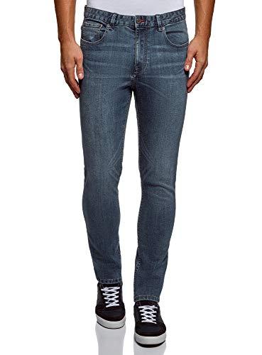 oodji Ultra Uomo Jeans Basic con Effetto Invecchiato Blu 33W / 34L