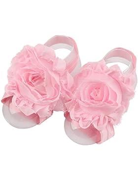 Scrox Linda Zapatos para bebé Multicolor Girasol de Gasa Bebé Flores de Cinta Descalza Sandalias Zapatos (Rosado)