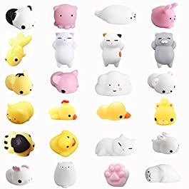 Amaza 24pcs Squishy Kawaii Animali Antistress Squishies Slow Rising 3D Silicone Squishy Morbidosi Piccoli Giocattolo