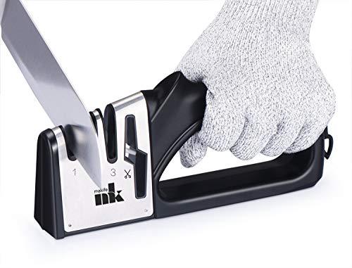 Makife Messerschärfer 4 in 1 Profi Messerschaerfer für Küchenmesser und Scheren, Küchenhelfer hilft Reparatur - Umfassen Schnittfeste Handschuhe -