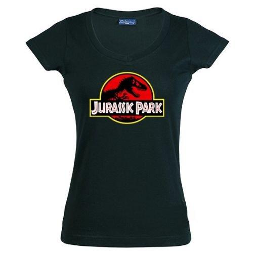 Camiseta de chica Jurassic Park logo clásico negra (Talla: M Chica manga corta Ancho/largo[42cm/58cm])