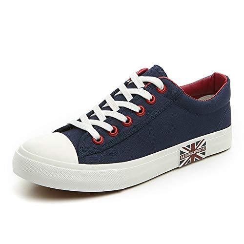 QQFLRB & Flat Shoes - Scarpe da Ginnastica da Uomo, in Tela, Colore Bianco/Nero, Leggere, Traspiranti, Casual, da Uomo, XX-242, Blu 41