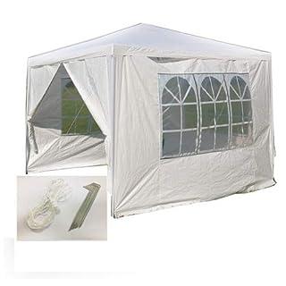 AutoFu Pavillonzelt Pavillon 3 x 3 m weiß Garten Camping Wasserdicht Pavillon mit 3 Seitenwände und 1 Tür mit Reißverschluss