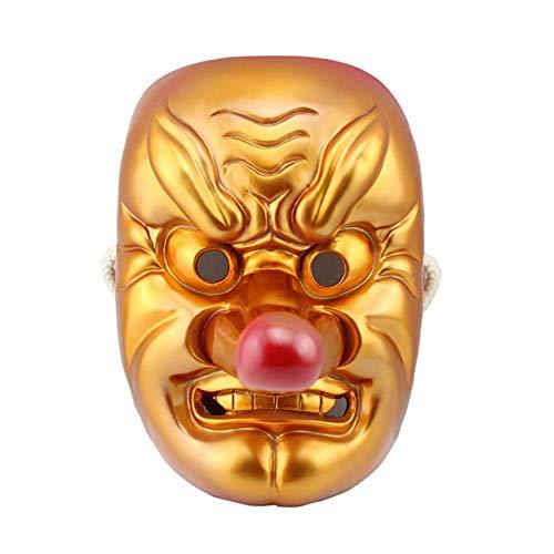 BNMY Máscara De Halloween Mitología Japonesa Tengu Rojo Y Oro Cosplay Máscara De Dios Producto De Resina,Gold