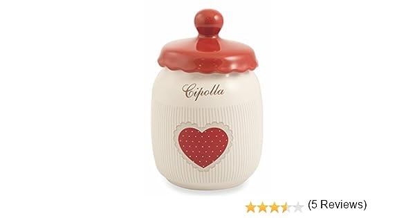 Galileo Casa Cottage Barattolo Cipolla Ceramica Bianco//Rosso