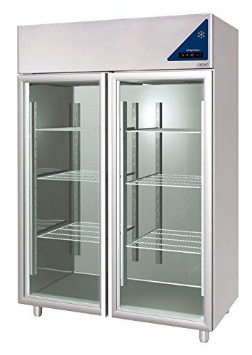 Gastlando - Premium Edelstahl Gewerbe-Tiefkühlschrank - Umluft - 1400 Liter - Glastüren - 2 Gefrierzellen -18° bis -22 °C