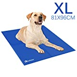 GoPetee Dog Cooling Mat Self-Cooling Pad Non-toxic Gel Summer Sleeping Bed Comfort for Small Large Dogs Pets Cats Puppy Bed Sofa(XL 81x96cm Blue)