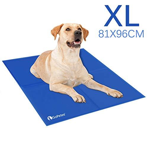 GoPetee Kühlmatte für Hunde Kühlkissen zur Abkühlung in der Sommerhitze Tiere Kühldecke geeignet für Zuhause unterwegs oder im Auto (XL: 81 * 96 cm)