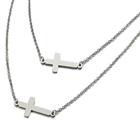Deux Couches Horizontale Sideway Latérale Pendentif Croix - Collier pour Femmes - Acier Inoxydable - Couleur Argent