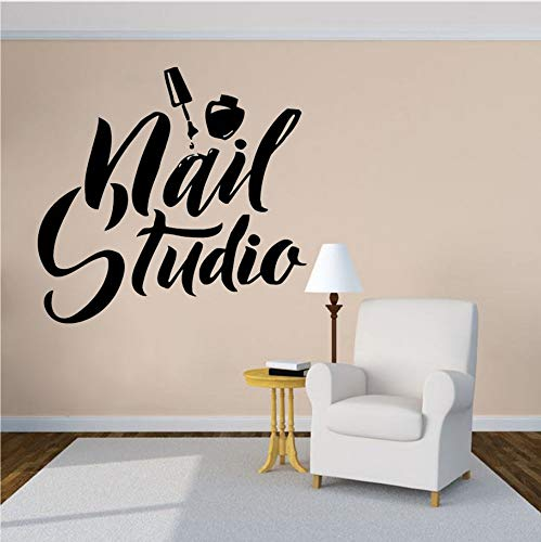 Whwd 60X57 Cm Nail Art Polish Wandaufkleber Beauty Salon Decor Maniküre Pediküre Vinyl Wandbild Nagelstudio Logo Wand Windows Aufkleber