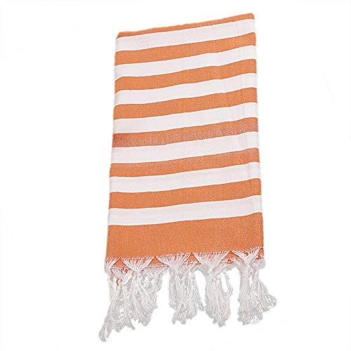 AUTOECHO Gestreifte Strandtuch Badetuch Sonnencreme Schal türkischer Baumwolle Quaste 39,37x70,87in (Orange Gestreifte Badetuch)