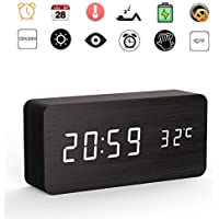 Hulorest Digital Wooden Alarm Clock for Beside Office, 3 Separate Alarms and Adjustable Brightness, Non Ticking, LED Temperature Display, Mains/Battery Powered